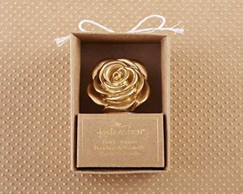 Kate Aspen, Metallic Gold Rose Wine/Champagne Bottle Stopper, perfect forParty Favors & Party Decors, Holiday Parties, Celeberations