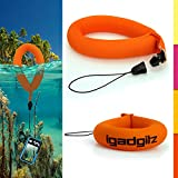 iGadgitz 1 Pack Neon Orange Waterproof Floating Wrist Strap suitable for use with Panasonic TS1, TS2, TS3, TS4, TS5, TS10, TS20, TS25, Lumix DMC-FT30EB-A