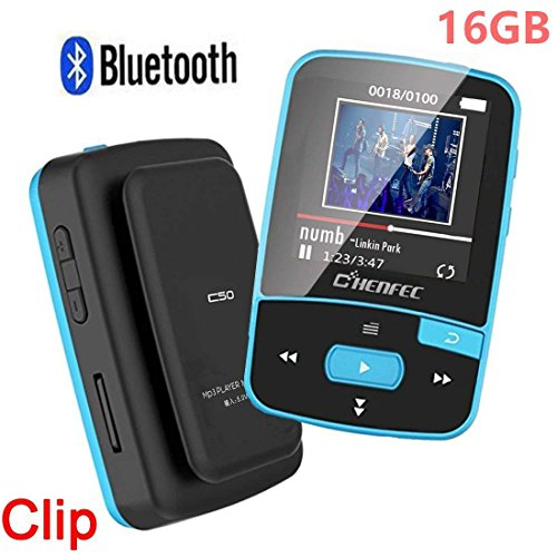 HONGYU C50 16GB Clip MP3 Player with Bluetooth 1.5 Inch Display Mini Portable Lossless Music Player with FM Radio/Voice Record for Running (Support up to 128GB- Blue)