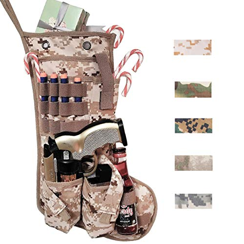 Beyond Your Thoughts New Tactical Christmas Stockings US Military with MOLLE Gear Webbing Durable Christmas Ornament for Family Decorations USMC Desert (1 Pack)