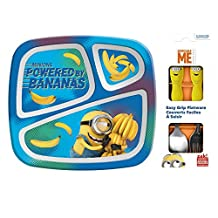 Zak! Designs Dinnerware Set includes 3-Section Plate, Fork and Spoon with Minions Graphics, Break-resistant, BPA-free plastic and Stainless Steel, 3 Piece Set