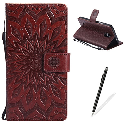 MAGQI Samsung Galaxy Note 4 Case Anti-Scratch Slim Fit Cover, Embossed Mandala Sunflower Serise Luxury Soft PU Leather Stand Vintage Retro Wristlet Flip Wallet Card Slots Skin Shell - Brown