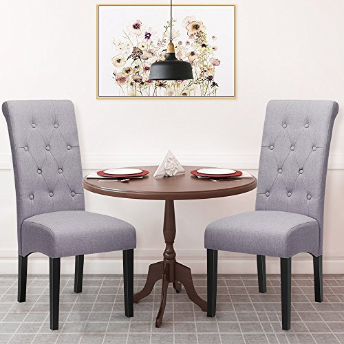 Harper & Bright Designs Dining Chairs Fabric Button Tufted Dining Chairs with Solid Wood Legs, Set of 2 (grey)