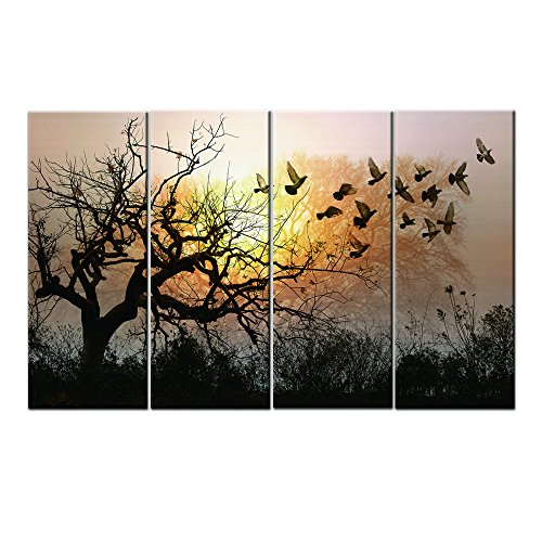 Winter Scence Tree Pigeon Sunset Glow modern