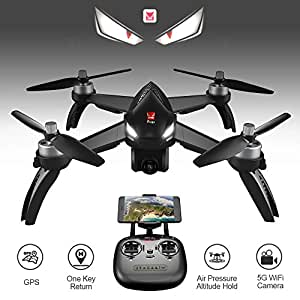 XFUNY MJX B5W Bugs 5 W RC Quadcopter 1080P 5G WiFi Camera Live Video 2.4GHz Remote Control Aircraft 6-Axis Gyro FPV Drone with GPS Return Home, Altitude Hold, Follow Me (B5W)