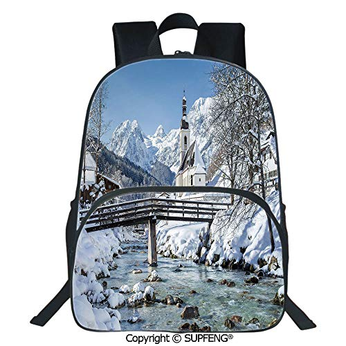 Square Front Bag Backpack Panoramic View of Scenic Landscape in Bavaria Parish European Scenic Places Decorative (15.75