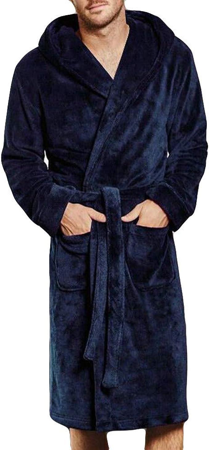 Keepwin Robe De Chambre pour Homme Polaire Ultra Douce Col Châlemotif  Peignoir Châle en Peluche