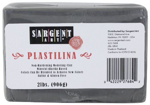 Sargent Art Plastilina Modeling Clay, 2-Pound, Gray by Sargent Art