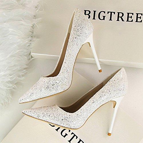 Femmes Glitter Inconnu Pointu Club Hauts Aiguille Mode Blanc Escarpins Chaussures Soirée Brillants Pumps Talons UwwBP