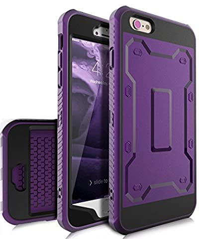 iPhone 6 Plus Case,iPhone 6s Plus Case,TIANLI [Slim] High Impact Protective Dual Layer Hybrid Case [Shockproof] With Built In Screen Protector For iPhone 6 Plus,iPhone 6s Plus 5.5 inch,Purple/Black