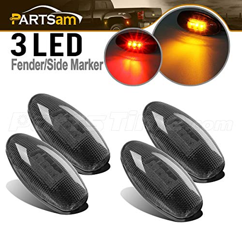 Partsam Dually LED Fender Bed Side Marker Lights Set Smoke Lens Replacement for Chevrolet Silverado and GMC Sierra 1999-2013 Dually 2500 3500 HD Dual Wheeler Trucks (2 x Amber, 2 x Red)
