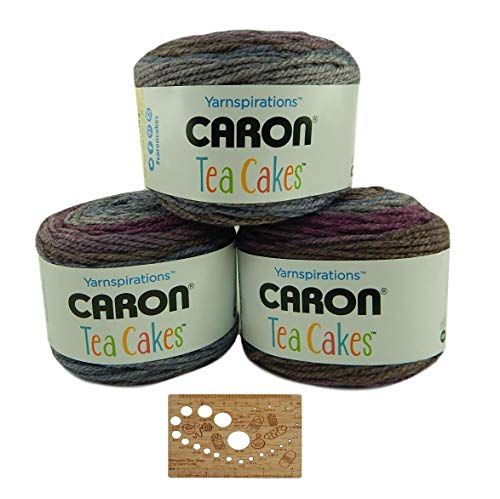 Caron Tea Cakes Acrylic-Wool Blend Yarn Super Bulky #6 8.5 oz 204 yds 3-Pack w Bamboo Knitting Gauge (Winterberry)