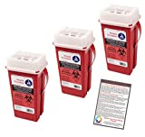 Sharps Container 2 Quart - Plus Vakly Biohazard Disposal Guide (3 Pack)