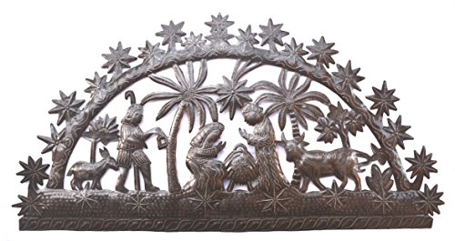 Nativity Arch, Holiday Scene, Recycled Haitian Metal Wall Art, 33