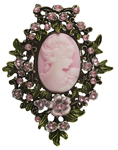 Pink Cameo Pin - Cameo Brooch in Antique Brass with Pink Cameo and Stones