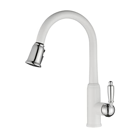 Kitchen Mixer Faucet White Pull Down Kitchen Sink Tap With Brass