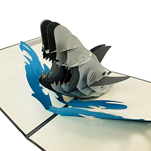 Angry Shark - WOW 3D Pop Up Card (COPYRIGHTED) for All Occasions - Birthday, Congratulations, Good Luck, Anniversary, Get Well, Love, Good Bye]()