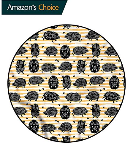 (RUGSMAT Hedgehog Modern Machine Washable Round Bath Mat,Floral Mascots Stripes Foam Mat Bedroom Decor Bedroom Round-63 )