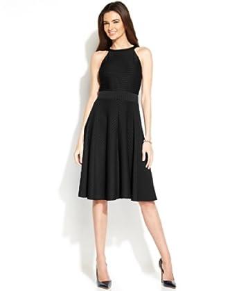 Alfani Plus Size Textured Striped Halter Dress Black 20w Black