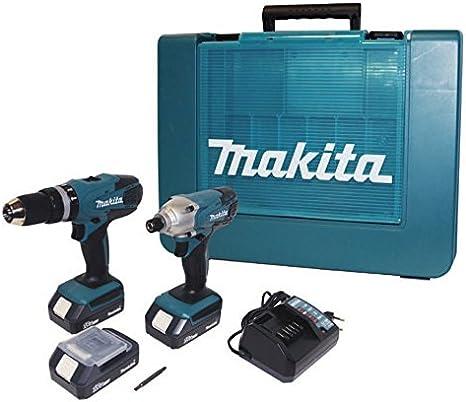 Makita, DK18015 - Set de taladro atornillador de percusión + atornillador de impacto, con batería de litio (18 V)