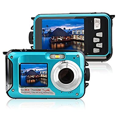 Waterproof Digital Camera for Snorkeling 1080P Full HD Underwater Camera 24 MP Video Recorder Selfie Dual Screen