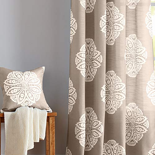 Semi-Sheer Print Curtains for Bedroom 95-inches Long White Medallion Floral Window Curtain Drapes Taupe 50