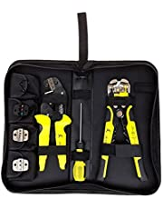 TIWWS D4301 Wire Stripper Crimpers Set Self-Adjusting Automatic Wire Strippers Professional Multifunctional Wire Crimpers(Wire Crimpers+Wire Strippers+S2 Screwdiver+Screws+Spare Terminals+Storage Bag) Yellow