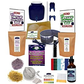 KOMBUCHA KAMP Continuous Brew COMPLETE PACKAGE: BREWER W/Wood Stand + Essential HEAT STRIP 17 Continuous Brew Kombucha is Easiest, Safest, Healthiest and Most Fun! Make Gallons of Kombucha for Pennies A Glass - Just Add Water! All Supplies Are Included, Even A High Quality Brewing Vessel
