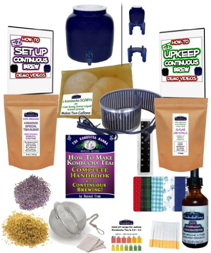KOMBUCHA KAMP Continuous Brew COMPLETE PACKAGE: BREWER W/Wood Stand + Essential HEAT STRIP 1 Continuous Brew Kombucha is Easiest, Safest, Healthiest and Most Fun! Make Gallons of Kombucha for Pennies A Glass - Just Add Water! All Supplies Are Included, Even A High Quality Brewing Vessel