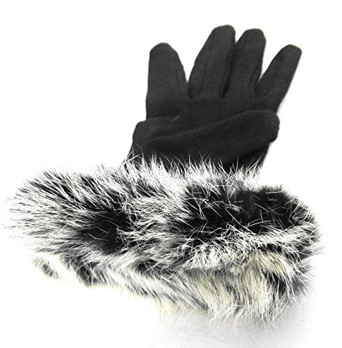 Zerimar Guanti maglia e pelle del coniglio per le donne 100% naturale Nero