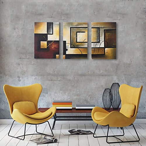 Abstract Geometry Oil Painting Wall Art Hand Painted Retro Vintage Handmade Drawing Handwork Artwork Antique Picture for Bedroom Living Room Office Decoration Modern Home Decor Framed,16