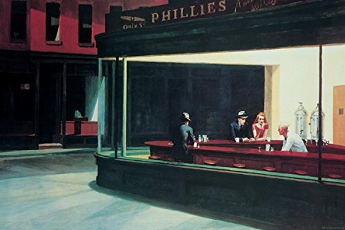 Buyartforless Nighthawks 1942 by Edward Hopper 36x24 Museum Art Print Poster Famous Painting