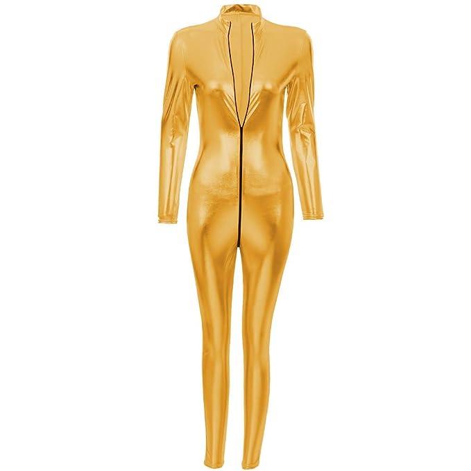 Damen Wetlook Turnanzug Body V Ausschnitt Spitze Kunstleder Clubwear Strampler