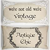 Antique Chic-Vintage Funny Tan Linen Message Throw Pillow
