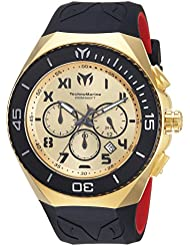 Technomarine Mens Manta Quartz Stainless Steel and Silicone Casual Watch, Color:Two Tone (Model: TM-215067)