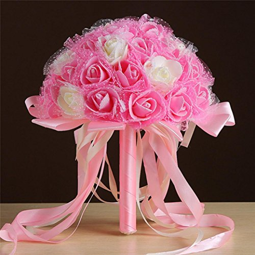 [Mikey Store Bridal Artificial Silk Flowers Crystal Roses Pearl Bridesmaid Wedding Bouquet (H)] (Autumn Leaf Bouquet)