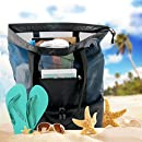 Codream Mesh Beach Bag with Cooler Insulated Picnic Waterproof Nylon Zipper Tote Bags for Beach Trave( Black+Navy)l