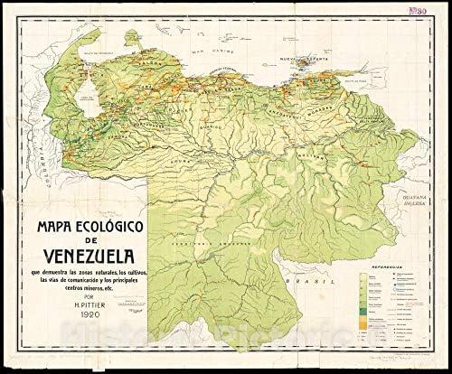 Amazon Com Historic Pictoric Map 1920 Mapa Ecoloi Gico De