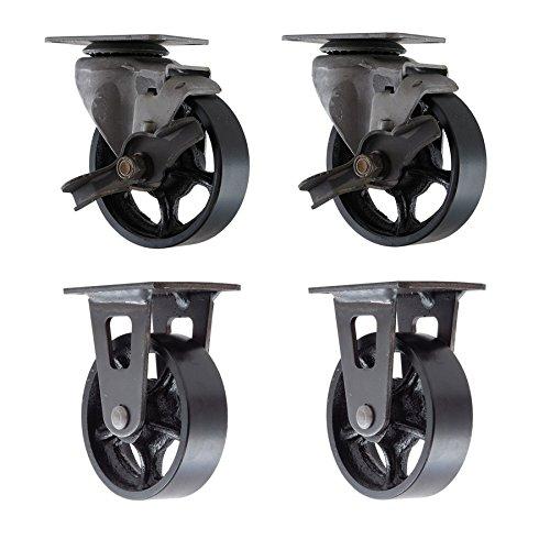 4 cast iron casters - 3