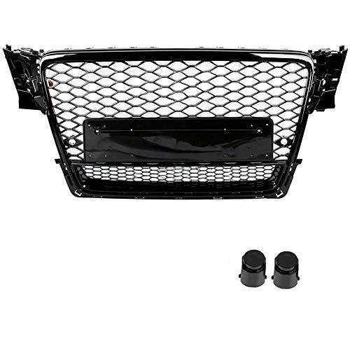 Front hood mesh bumper grill, bumper grill, honeycomb hood grill bumper grille for A4/S4 B8 09-12 black.: