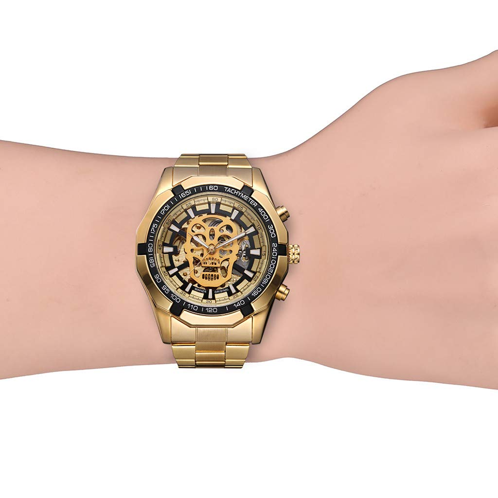 LUXISDE Quartz Watch Mens Digital Wrist Watch Clock Hollow Dial Luxury Design Business Fashion Mens Mechanical Watch by LUXISDE (Image #6)