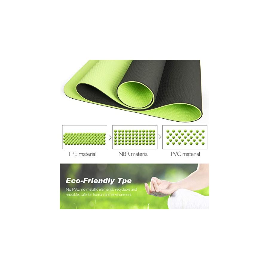 TOPLUS Yoga Mat, 1/4 inch Pro Yoga Mat TPE Eco Friendly Non Slip Fitness Exercise Mat with Carrying Strap Workout Mat for Yoga, Pilates and Floor Exercises