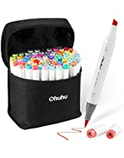 Ohuhu 72 Colors Alcohol Markers, Brush & Chisel Double Tipped Sketch Marker For Kids, Artist, Alcohol Brush Art Marker Set Bonus 1 Blender For Sketching, Adult Coloring, Illustration, And Design