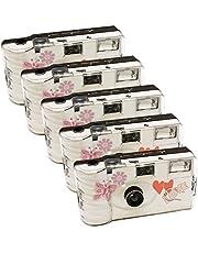 5x PHOTO PORST bruiloft camera met vlinder / wegwerpcamera / partycamera (elk 27 foto's, met flits, 5-pack)