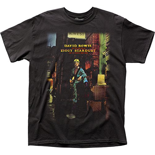 Impact David Bowie Ziggy Plays Guitar Adult Tee (Medium) Black (David Bowie Best Of Rar)