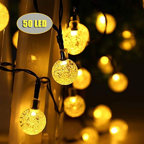 GreenerLine Solar String Lights Garden, 50 LED Outdoor Solar String Lights Crystal Ball Decorative Lights, 24Ft Waterproof Indoor/Outdoor Fairy Lights for Garden, Patio, Yard, Christmas