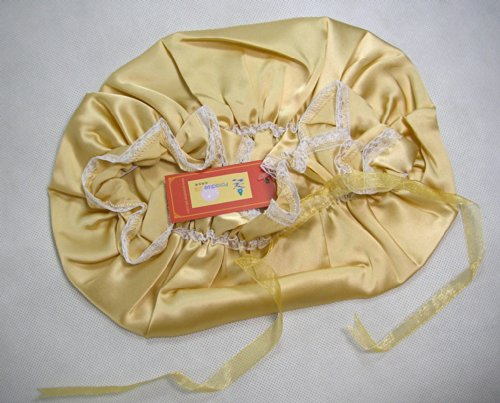 One Real Silk Slumber Cap Sleeping Hat W/ Lace Champagne