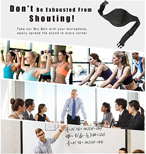 Black 2 Pieces Microphone Belt Mic Carrier Pouch Adjustable Sweat Absorbent Belt Neoprene Bodypack Bag for Vertical Mic Fitness Instructors Transmitter Teacher Singer Speaker Theatre