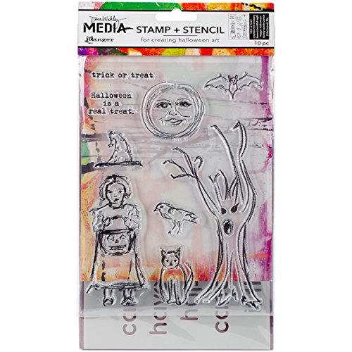 Dina Wakley Media Clear Stamps & Stencil Set-Scribbly Trick Or Treat -