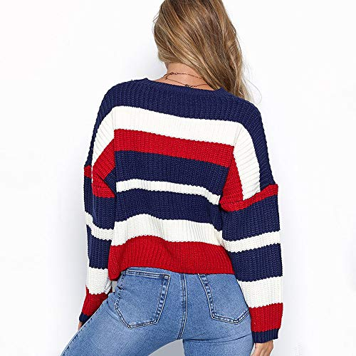 Liraly Sweatshirts For Women New Fashion Women Winter Fashion Long Sleeve Knitted Patchwork Tops Loose Sweater Blouse Shirt Blouses(Red ,US-8 /CN-L) by Liraly (Image #2)